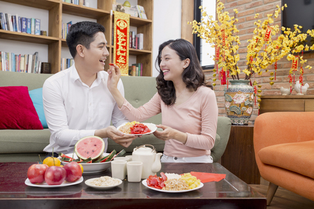 Vietnamese couple celebrate lunar new year