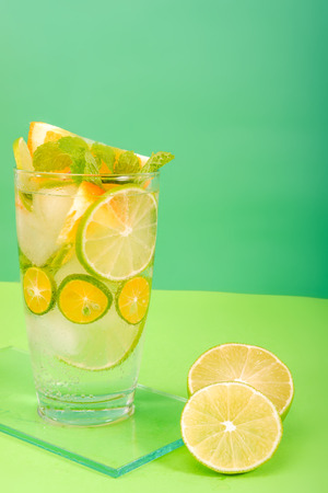 Refreshment healthy lemonade lime with mint honey and ice in a glass