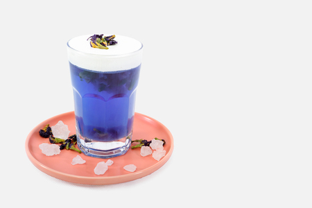 Butterfly Pea Tea Macchiato Stock Photo