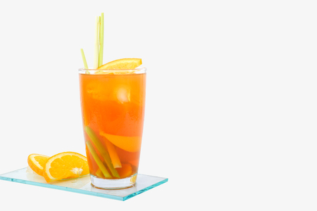 Peach orange ice tea and lemongrass 免版税图像