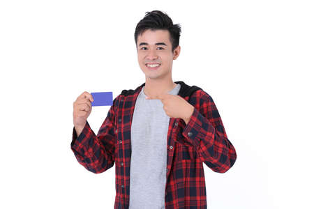 Young Asian Boy Wearing Red Shirt and posing name card