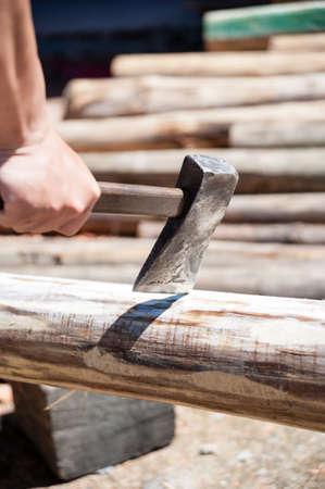 fire wood: Man Chopping Fire Wood