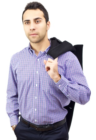 Portrait of a business man holding his coat over shoulder on white background Stock Photo - 12041110