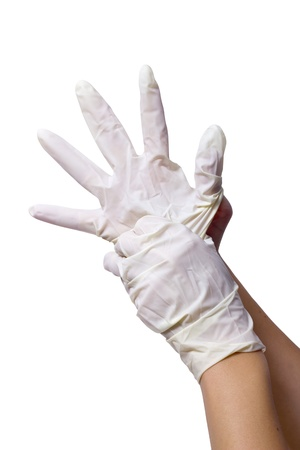 nitril: a pair of white nitril gloves on the hands with white background