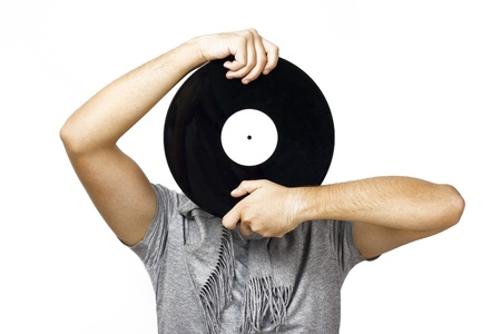 Man holding vinyl photo