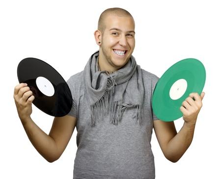 neckcloth: Man holding vinyls Stock Photo