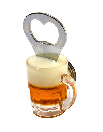 bar magnet: A beer opener magnet which sticks easily on the refrigerator