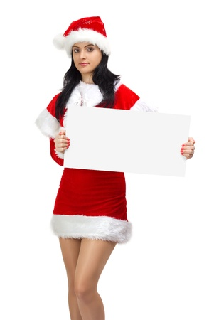 Young woman santa holding a blank board photo