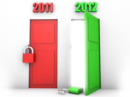 happy new year symbolized by an open green door showing the passing from 2011 to 2012