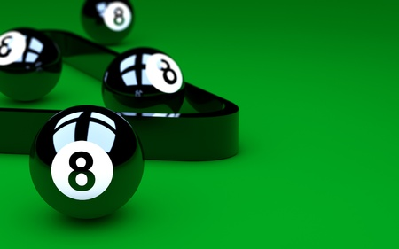 eightball: Group of eight balls on green pool table Copy space for text on the right