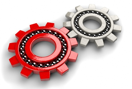 Closeup of two gear bearings illustrating team work as concept photo
