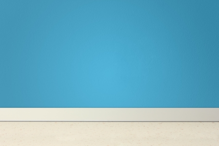 Empty room with blue wall and linoleum photo