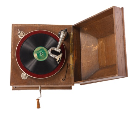 Top view of old wooden gramophone against white background