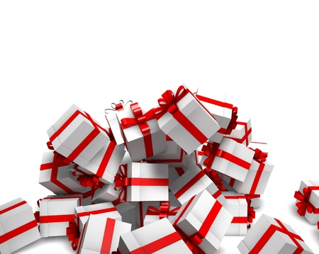 Group of falling white gift boxes with red ribbon against white background Soft shadows  Stock fotó