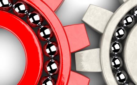 ingenieria industrial: Primer plano de dos rodamientos de engranaje que ilustra el trabajo en equipo como concepto Foto de archivo