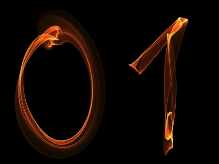 Zero and one digits written with fire against black background photo