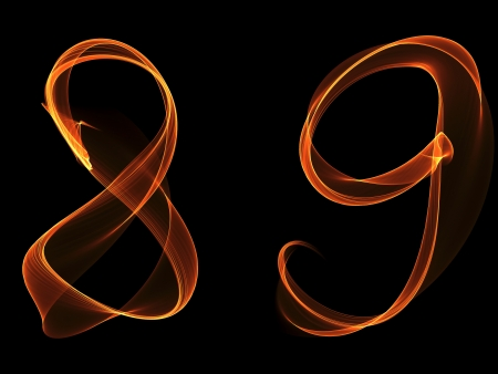 Eight and nine digits written with fire against black background photo