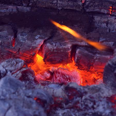 embers: Closeup of very hot firewood transformed in embers. Vintage look.