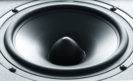 Closeup view of huge black bass speaker with high quality membrane Stock Photo