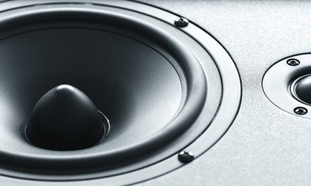 Closeup view of huge black bass speaker with high quality membrane Stock fotó