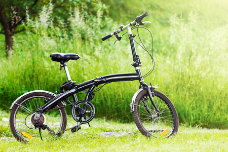 stationary bike: Profile shot of black folding bicycle in the grass.