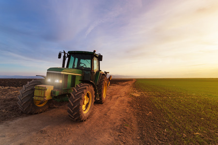 agriculture machinery: Green tractor on field at sunset after plowing