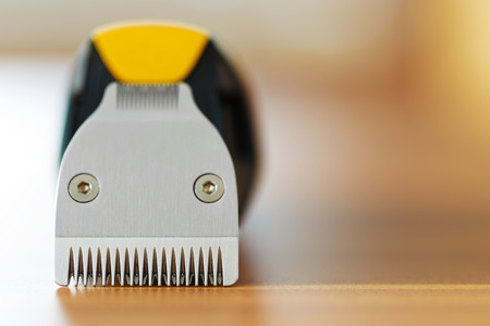 hair clippers: Macro shot of beard trimmer blades with blurred background