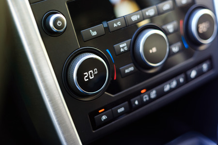 optimal: Air conditioning knob showing chosen celsius temperature Stock Photo