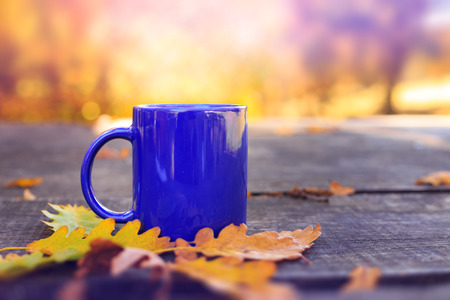 yellow to drink: Blue cup on wooden table with autumn blurred background. Outdoor scene. Vintage effect. Stock Photo