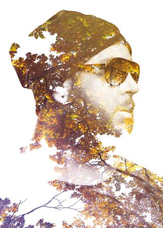 男性の二重肖像画の露出は、枝と木を組み合わせます。グラデーション効果を適用します。ビンテージの外観。