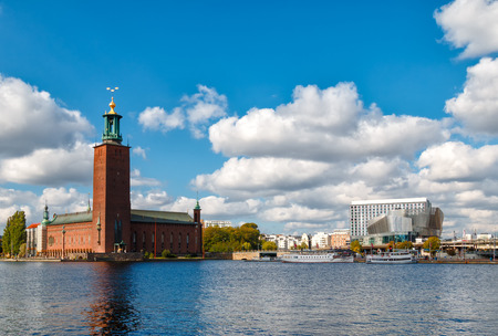 Tourist travel view of Stockholm City Hall