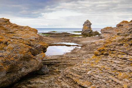 Horizontal of Iconic rauk landscape on Gotland, Sweden photo