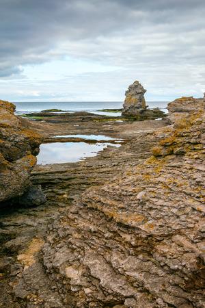 Vertical of Iconic rauk landscape on Gotland, Sweden photo