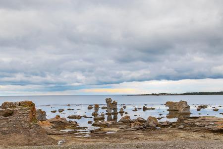 Iconic rauk landscape on Gotland, Sweden photo