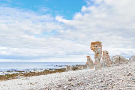 Rauk landscape of Langhammar in Gotland, Sweden photo
