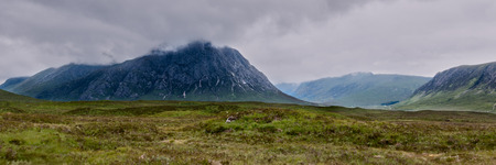 Panorama landscape view of Buachaille Etive Mor in the Scottish Highlands, Scotland Stock Photo