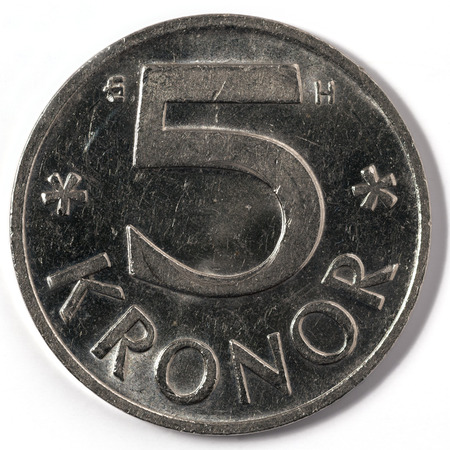 Macro close-up of Swedish five krona coin