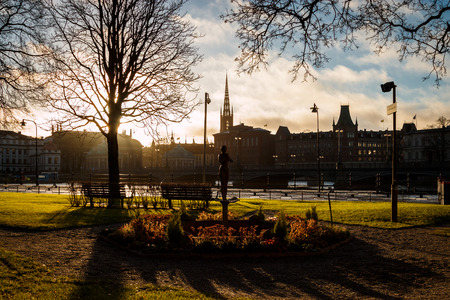 Rosenbad city park in Stockholm, Sweden Stock Photo