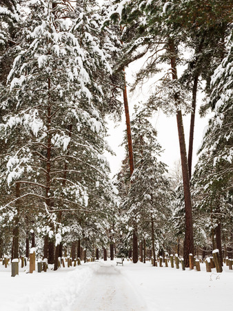 Woodland Cemetery in Stockholm, Sweden during winter Stock Photo