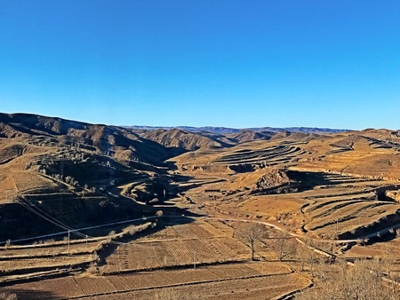 The Loess Plateau in winter Stock Photo