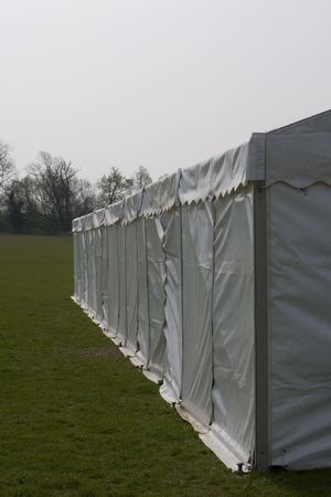 image of outside a clear span marquee on grass