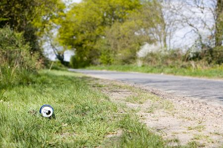 banish: can of drink by a curved road down a country lane lined with green trees on both sides