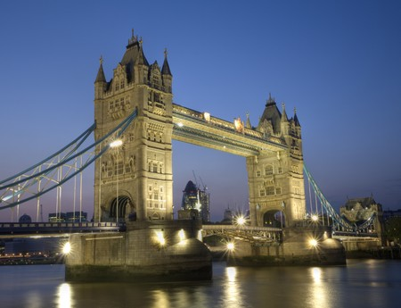 night time shot along london embankment