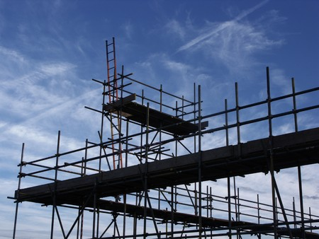 scaffolding againts a blue sky ready to build