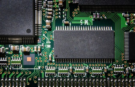 close up detail image of a printed circuit board from above Stock Photo