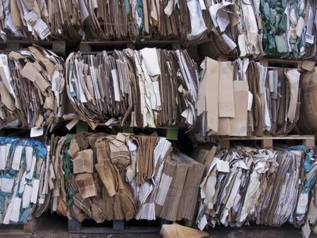separacion de basura: boxs de carboard listo para reciclar
