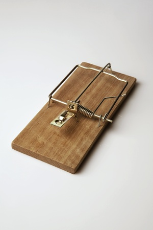 mouse trap: close up of  mouse trap on plain white background