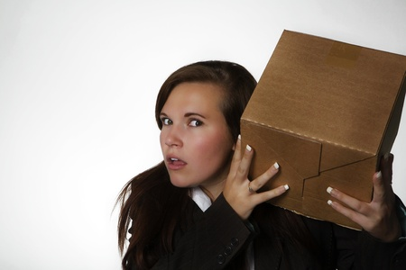 woman holding a card board box Stock Photo - 11699834