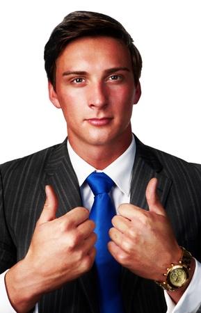 business man with his thumbs up saying good job photo
