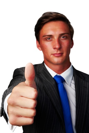 business man with his thumb up saying good job photo